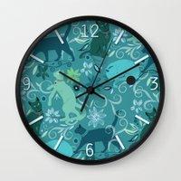 Floral cats, blue Wall Clock