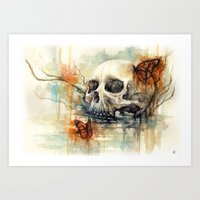 calavera mariposa - watercolor skull Art Print