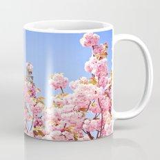 Pink Cherry Blossoms Against Blue Sky Mug