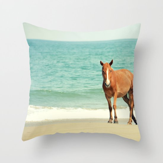 Wild Mustang of Carova, NC Throw Pillow