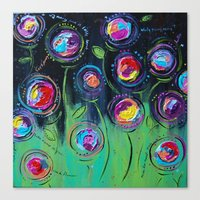 Canvas Print featuring The Flowers Talk At Night by Cally's Creations