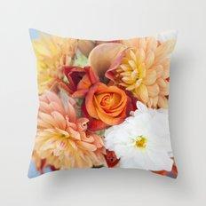 orange, yellow and white flowers  Throw Pillow
