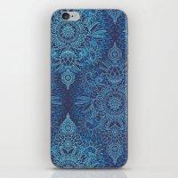 Aqua, Cobalt Blue & Purple Protea Doodle Pattern iPhone & iPod Skin