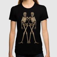 walking skeleton beauties Womens Fitted Tee Black SMALL