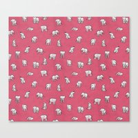 Indian Baby Elephants in Pink Canvas Print