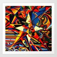 Intermixing Color Star  Art Print