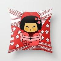 Kokeshi Sakura Throw Pillow