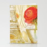 Doré -- Gilded Still Life with Red Ranunculus and Collage Effects Stationery Cards