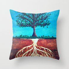 A tree only stands tall because of it's roots. Throw Pillow