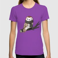 Winter Owl Womens Fitted Tee Ultraviolet SMALL