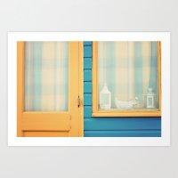 Beach Hut Window- Orange Art Print