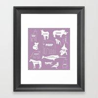 Animal Noises 2 (Lavender) Framed Art Print
