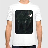 Moonbot #0: Black Mens Fitted Tee White SMALL