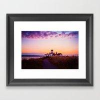 Discovery Park Lighthouse at sunset Framed Art Print