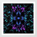 black, purple and blue waves and strips an elaborate pattern in strong Faben Art Print