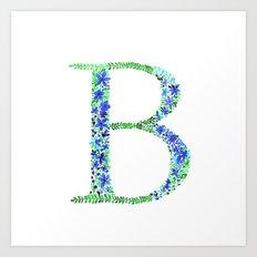 Floral Monogram Letter B Art Print