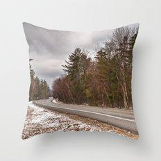 White Mountain Winter Road Throw Pillow