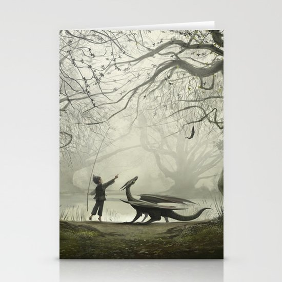 The Boy And His Dragon Stationery Card