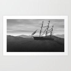 Desert shipwreck Art Print