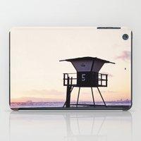 Vintage Lifeguard Tower Silhouette at Sunset, Sunset Beach, California iPad Case