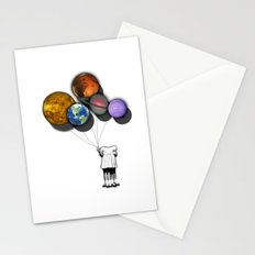 Planet balloon girl Stationery Cards