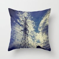 Heavenly spring sky in an industrial world Throw Pillow