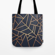 Copper And Midnight Navy Tote Bag