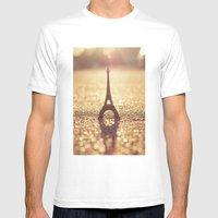 Paris, City of Light Mens Fitted Tee White SMALL