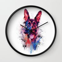 Drippy Jazzy German Shepherd Colorful Dog Art by Jai Johnson Wall Clock