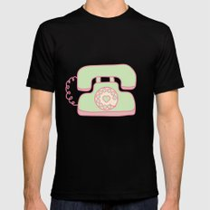 Retro Phone - Mint Black SMALL Mens Fitted Tee