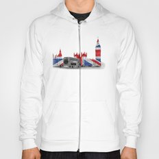 Big Ben, London Bus and Union Jack Flag Hoody