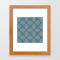 Tribal Tile Blue Framed Art Print