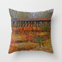 Cuppert's Covered Bridge Throw Pillow