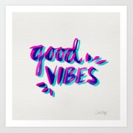 Art Print featuring Good Vibes – Magenta &… by Cat Coquillette
