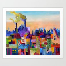 Spring Flowering over the Rooftops Art Print