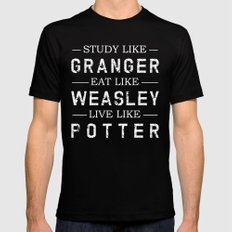 STUDY LIKE GRANGER, EAT LIKE WEASLEY, LIVE LIKE POTTER SMALL Mens Fitted Tee Black