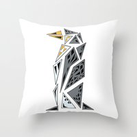 Geometric penguin - dark grey Throw Pillow