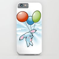 Cute Little Blue Bunny Flying With Balloons iPhone 6 Slim Case