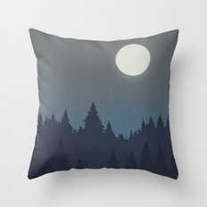 Tree Line - Grey Throw Pillow