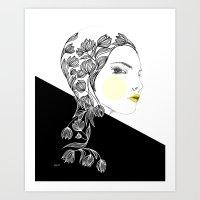 yellow kiss Art Print