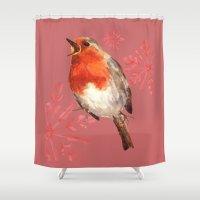 Winter Herald, Robin, Ro… Shower Curtain