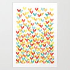 Falling Hearts Art Print