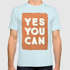 YES YOU CAN Mens Fitted Tee Light Blue SMALL
