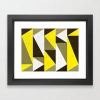 Yellow & Gray Triangles Framed Art Print