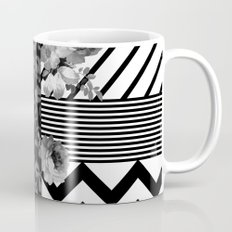 Trendy Black and White Floral Lace Stripes Chevron Mug