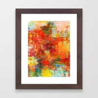 AUTUMN HARVEST - Fall Colorful Abstract Textural Painting Warm Red Orange Yellow Green Thanksgiving Framed Art Print