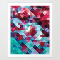 Aqua and Fuchsia Geometric Art Print