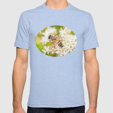 Bee and White Flowers Mens Fitted Tee Tri-Blue SMALL