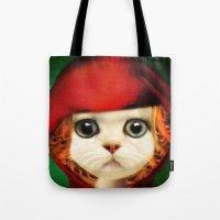 Kitten Red Riding  Tote Bag