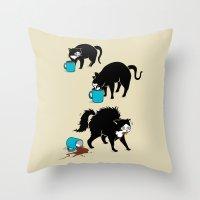 Coffee Cat Throw Pillow